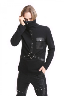High Collar Pocket Mens Shirt
