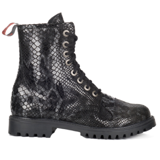 8-Eye Boots Leather Snake ( Black)