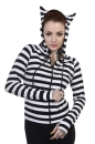 Cat Ears Striped Hoodie blk/wht