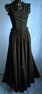 Long Cotton Skirt Black - one size