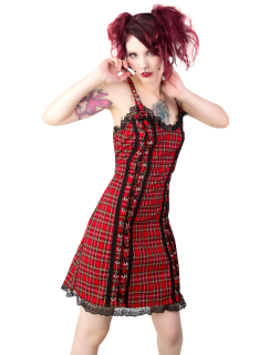 Eyelett Mini Dress Tartan Red