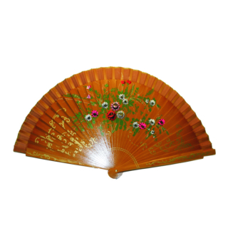 Yellow Wooden Fan Painted